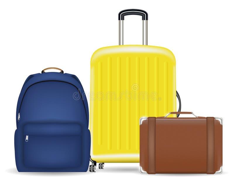 Grupo de uma mala de viagem e de uma trouxa da bagagem do saco ilustração do vetor