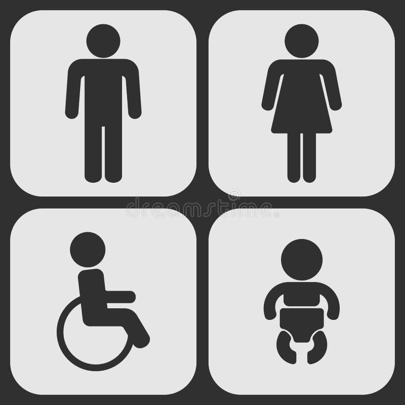 Grupo de uma Web de 4 toaletes e de ícones móveis ilustração stock