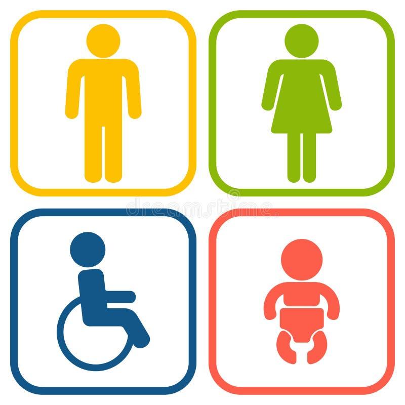 Grupo de uma Web de 4 toaletes e de ícones móveis ilustração royalty free