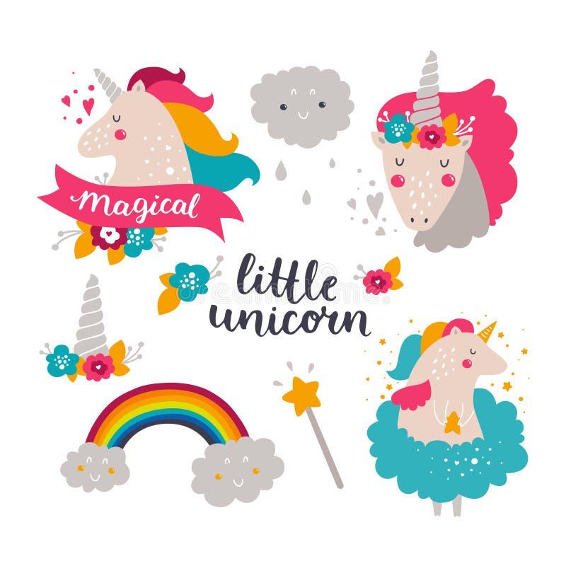 Grupo de unicórnio e de arco-íris do bebê ilustração do vetor