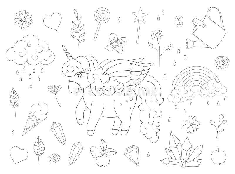 Grupo de unicórnios bonitos, arco-íris do vetor, nuvens, cristais, corações, esboços das flores ilustração royalty free