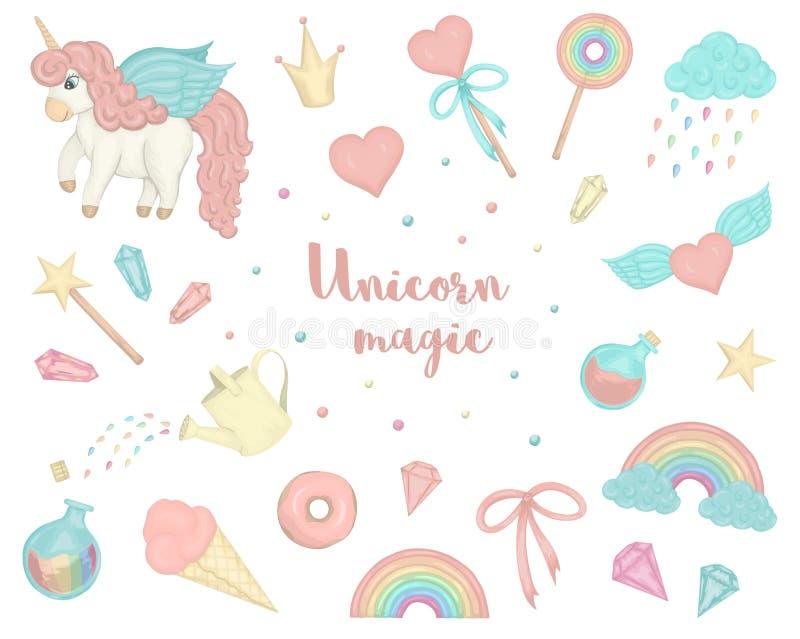 Grupo de unicórnios bonitos do estilo da aquarela, arco-íris do vetor, nuvens, anéis de espuma, coroa, cristais, corações ilustração do vetor