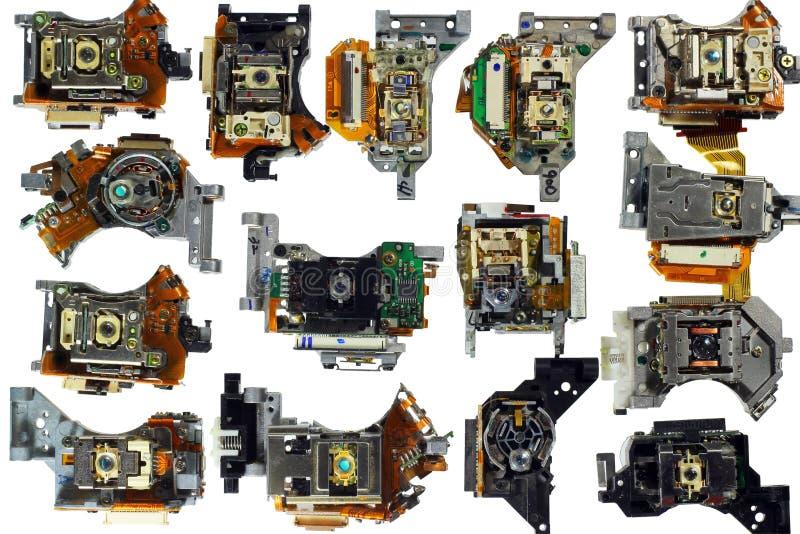 Grupo de unidades do recolhimento da unidade ótica, isolado no branco fotos de stock