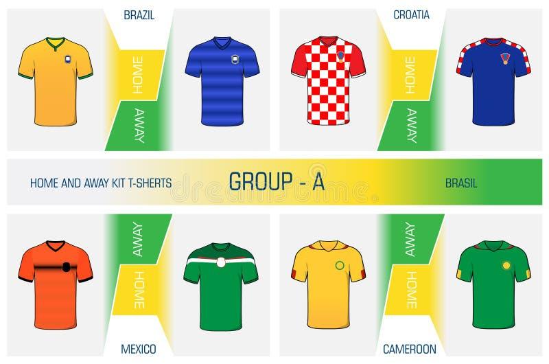 Grupo de uniforme do futebol dos nacionais - agrupe A ilustração stock