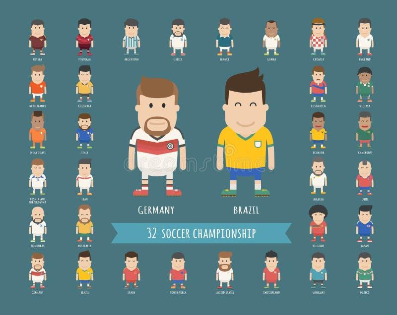 Grupo de uniforme nacional da equipe de futebol, jogador de futebol ilustração do vetor