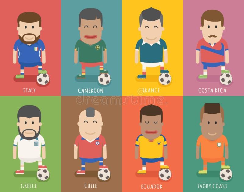 Grupo de uniforme nacional da equipe de futebol, jogador de futebol ilustração stock