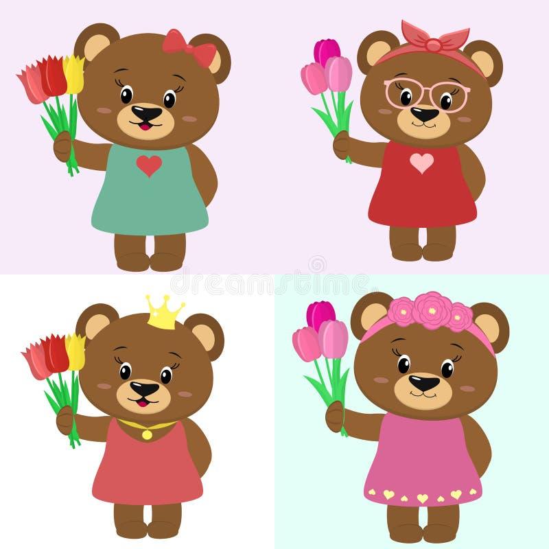 Grupo de ursos marrons bonitos da menina na roupa diferente com um ramalhete das tulipas ao estilo de uns desenhos animados ilustração royalty free