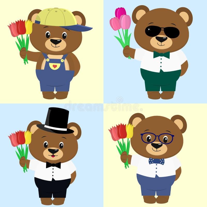 Grupo de ursos marrons bonitos dos meninos na roupa diferente com um ramalhete das tulipas ao estilo de uns desenhos animados ilustração do vetor