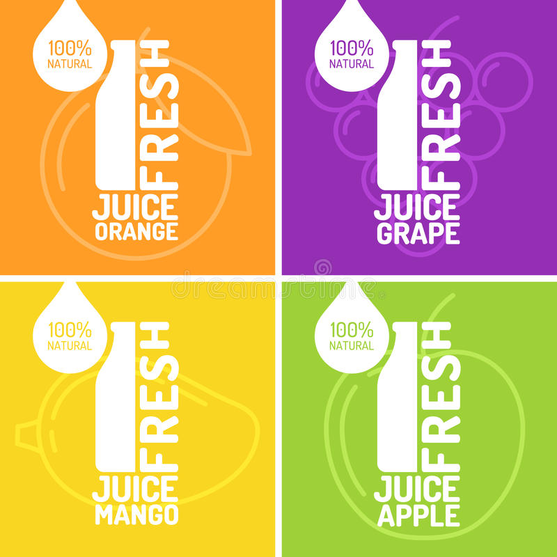 Grupo de uva, de laranja, de manga e de maçã frescas do suco dos cartazes ilustração stock