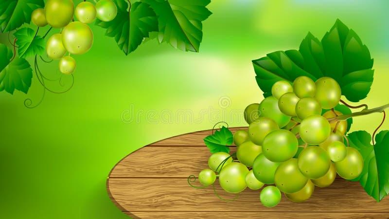 Grupo de uvas bonito em uma placa de madeira ilustração stock