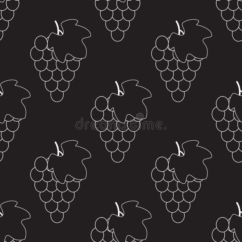 Grupo de uvas com ?cone do vetor da silhueta da folha para apps e Web site do alimento Teste padr?o sem emenda da uva ilustração stock