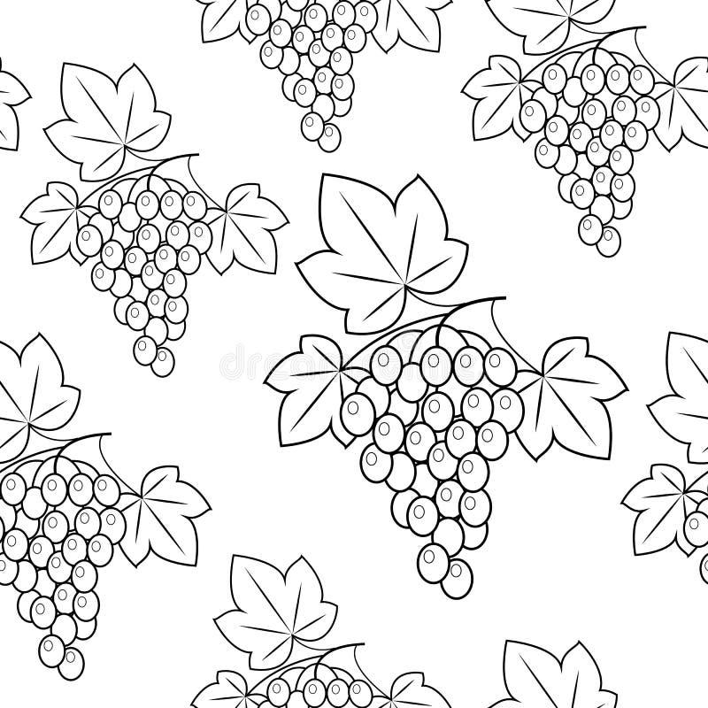 Grupo de uvas em um fundo verde Teste padr?o bonito Papel de embrulho Ilustra??o do vetor ilustração do vetor