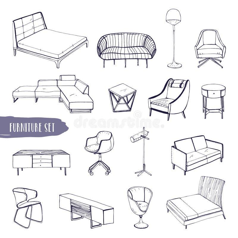 Grupo de vária mobília Entregue tipos diferentes tirados sofás, cadeiras e poltronas, tabelas de cabeceira, camas, tabelas, lâmpa ilustração do vetor