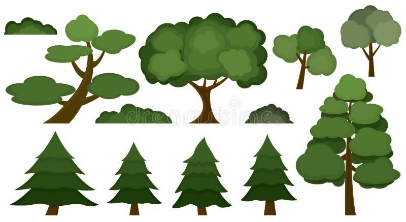 Grupo de várias árvores e de arbustos isolados no fundo branco imagens de stock royalty free