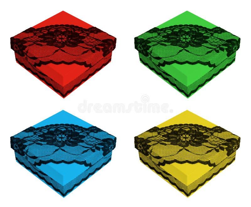 Grupo de várias caixas de presente da cor, decorado com laço preto fotos de stock royalty free