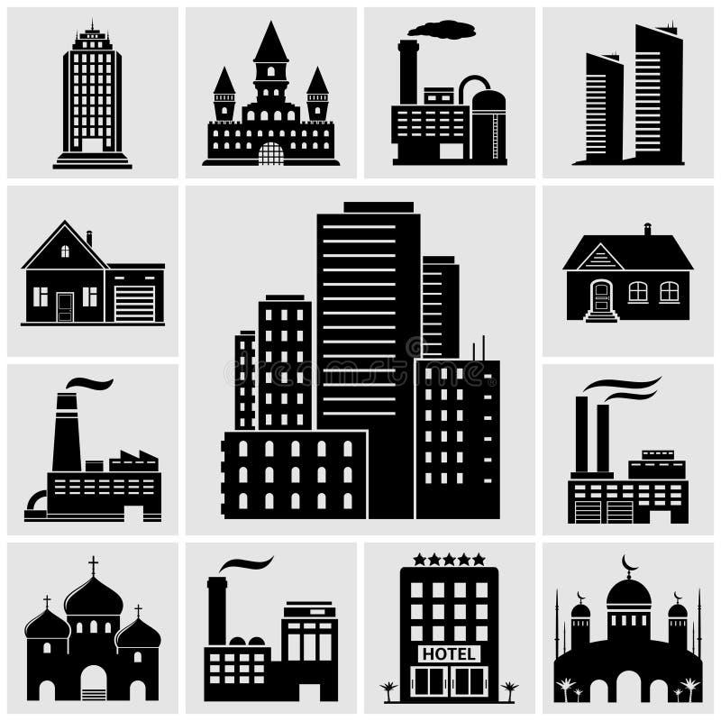 Grupo de várias construções e de ícones dos bens imobiliários ilustração stock
