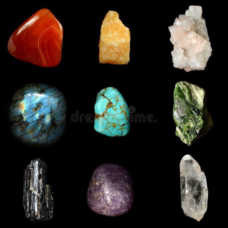 Grupo de várias rochas e pedras minerais fotografia de stock royalty free