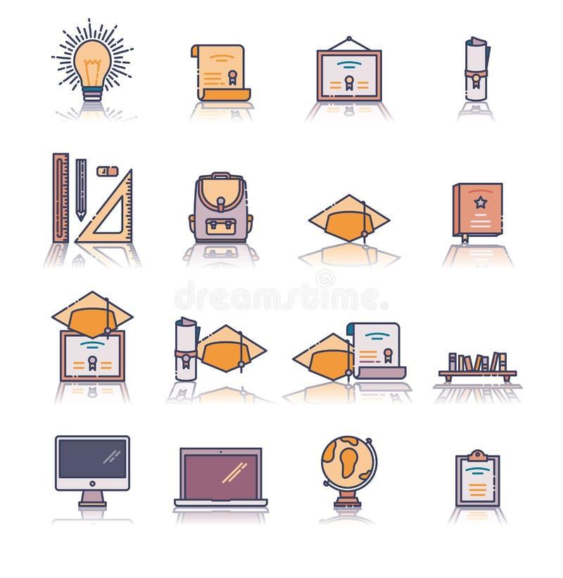 Grupo de vários ícones educacionais do vetor ilustração royalty free