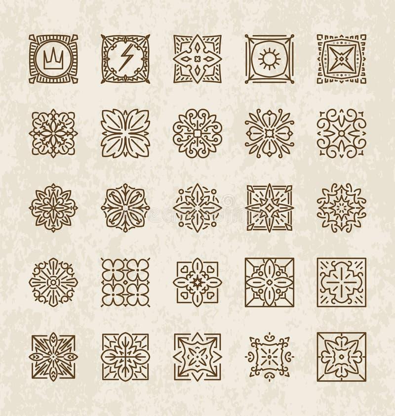 Grupo de 25 vários elementos do projeto (coroa, relâmpago, raios, flowe ilustração stock