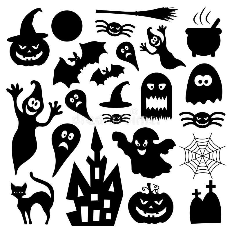 Grupo de vários elementos do projeto do Dia das Bruxas do vetor ilustração royalty free