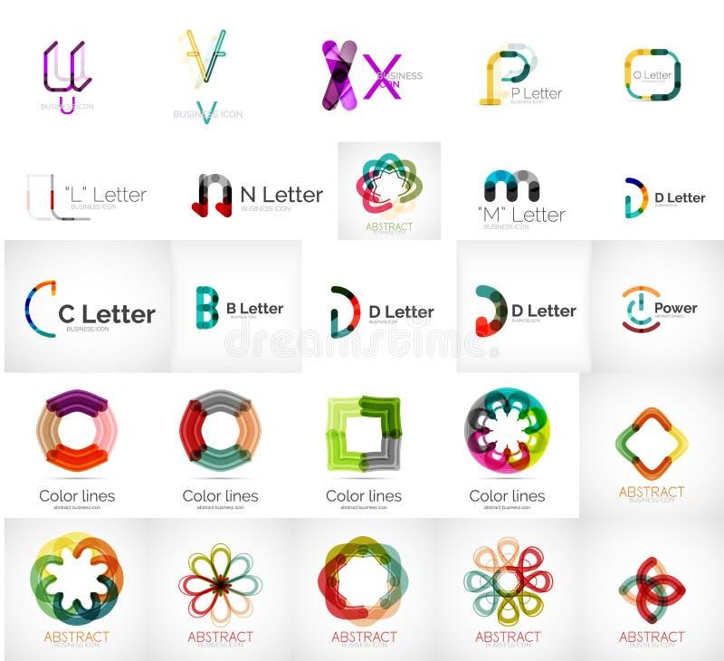 Grupo de vários logotipos universais da empresa ilustração do vetor