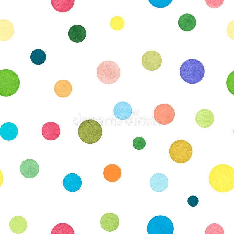 Grupo de vários pontos coloridos, aquarela pintada e isolada sobre ilustração stock