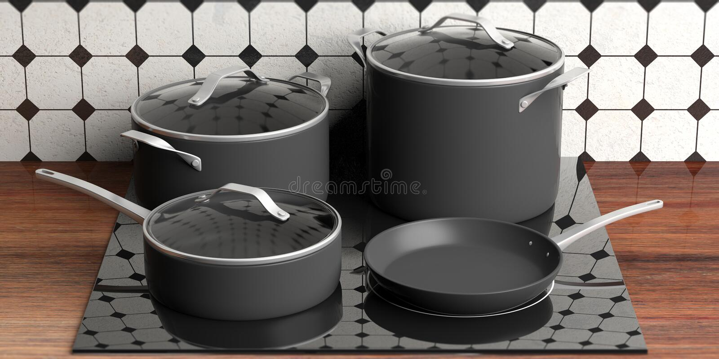 Grupo de vários tamanhos pretos que cozinham potenciômetros e frigideira no fogão bonde, parte superior contrária de cozinha ilus ilustração royalty free