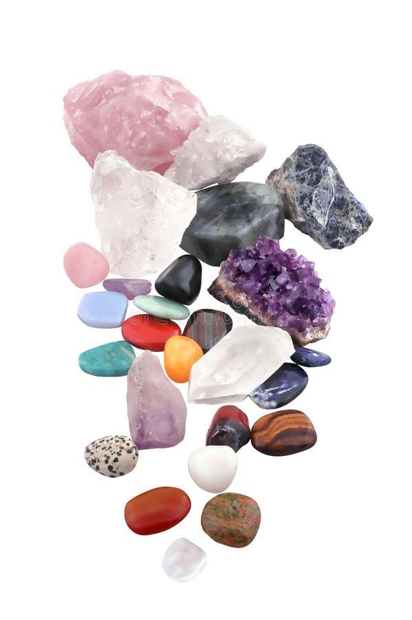 Grupo de vários tipos dos cristais no fundo branco fotos de stock royalty free