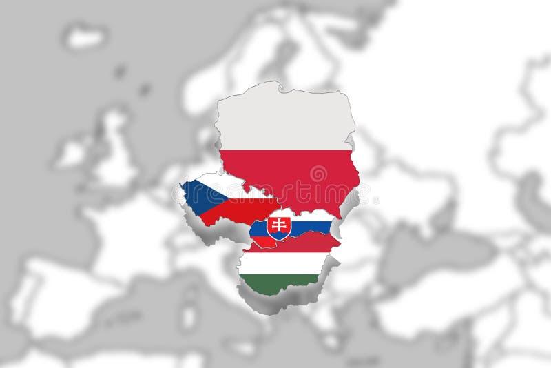 Grupo de V4 Visegrado en el fondo blured de Europa, Polonia, República Checa, Eslovaquia, Hungría ilustración del vector