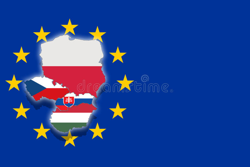 Grupo de V4 Visegrado en fondo euro de la bandera - copie el espacio, Polonia, República Checa, Eslovaquia, Hungría libre illustration