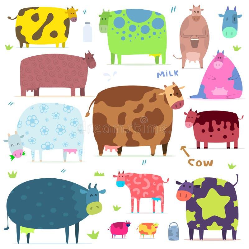 Grupo de vacas engraçadas ilustração royalty free