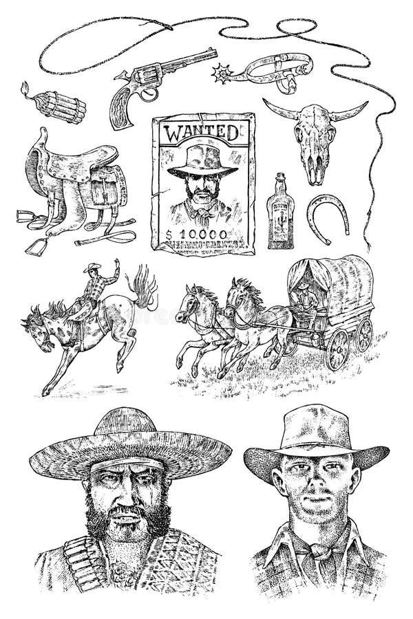 Grupo de vaqueiros Ícones ocidentais, equipamentos de Texas Ranger Vintage ocidental selvagem esboço tirado mão gravado Retrato d ilustração royalty free
