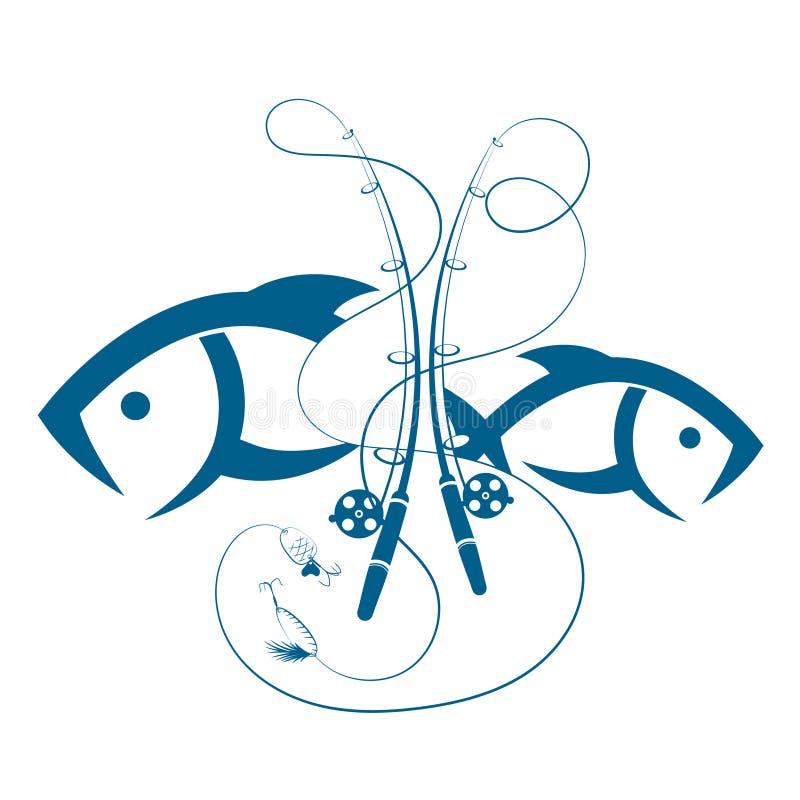 Grupo de varas de pesca e de peixes ilustração stock