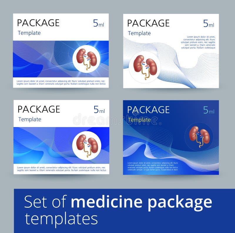 Grupo de variações do projeto do molde do pacote da medicina com os rins humanos realísticos ilustração stock