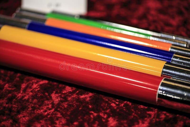 Grupo de varinhas da mágica da cor foto de stock