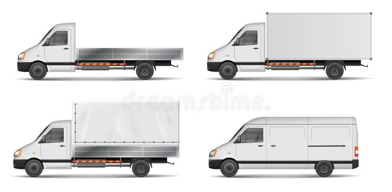 Grupo de veículos de carga brancos realísticos vector a ilustração com caminhão pesado, reboque, caminhão, mini ônibus, camionete ilustração royalty free