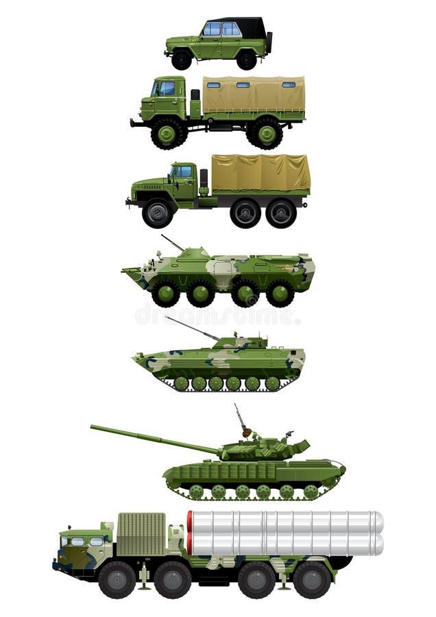 Grupo de veículos militares ilustração royalty free