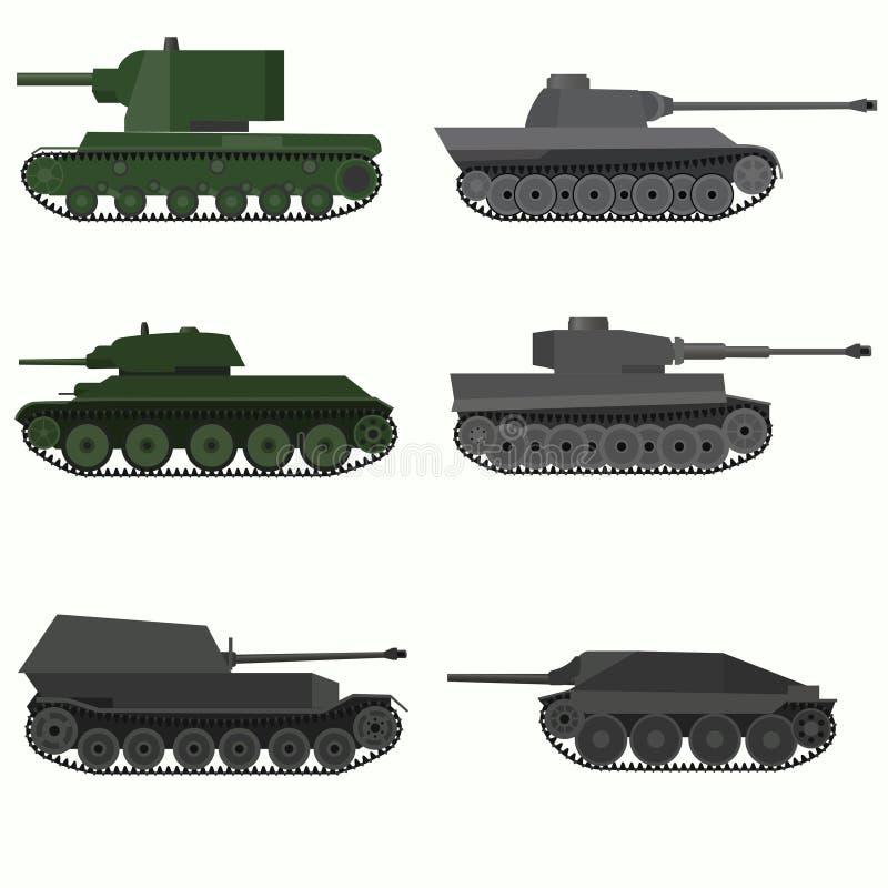 Grupo de veículos militares e de tanques imagem de stock