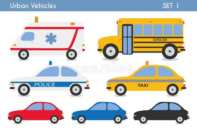 Grupo de veículos urbanos: carros, ambulância, táxi, ônibus escolar e carro de polícia ilustração stock