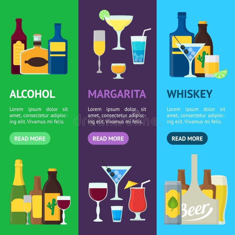 Grupo de Vecrtical da bandeira das bebidas alcoólicas dos desenhos animados Vetor ilustração do vetor