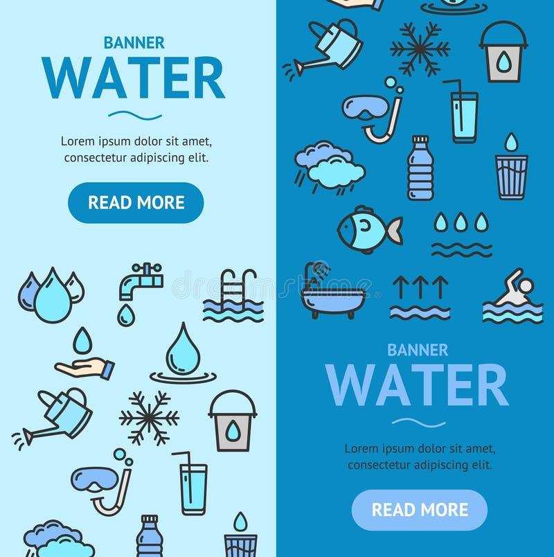Grupo de Vecrtical da bandeira dos sinais da associação e da água Vetor ilustração stock