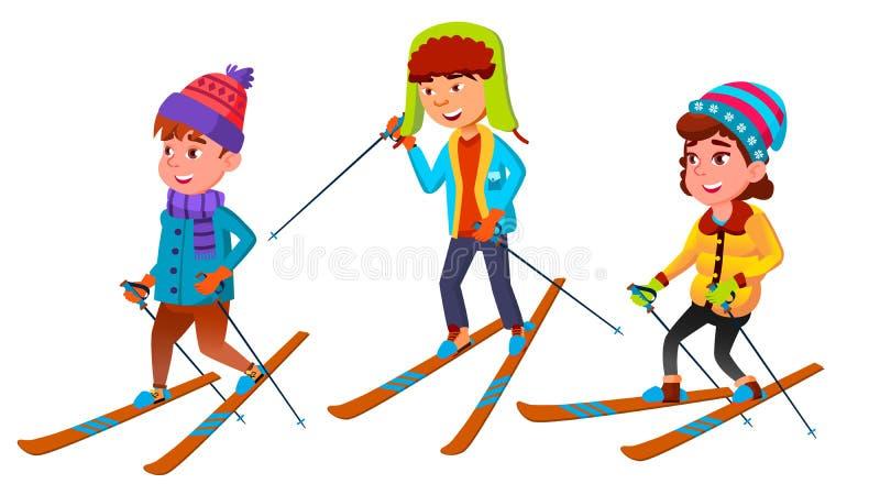 Grupo de vector permanente del esquiador de los niños del carácter libre illustration