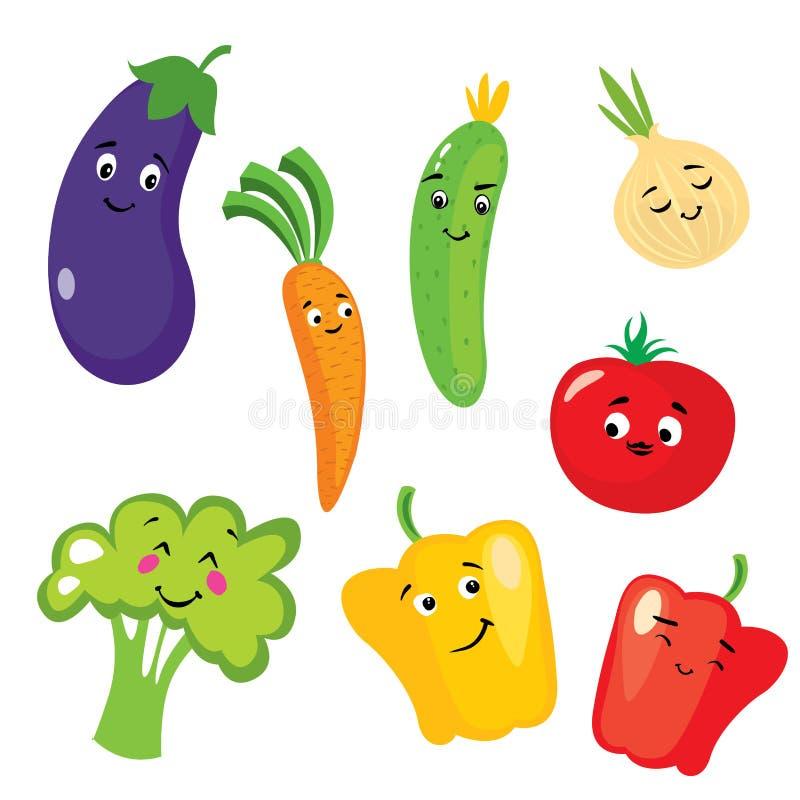 Grupo de vegetais bonitos sob a forma dos caráteres Beringela, tomate, pepino, cebola, paprika, pimenta, brócolis e cenouras ilustração stock