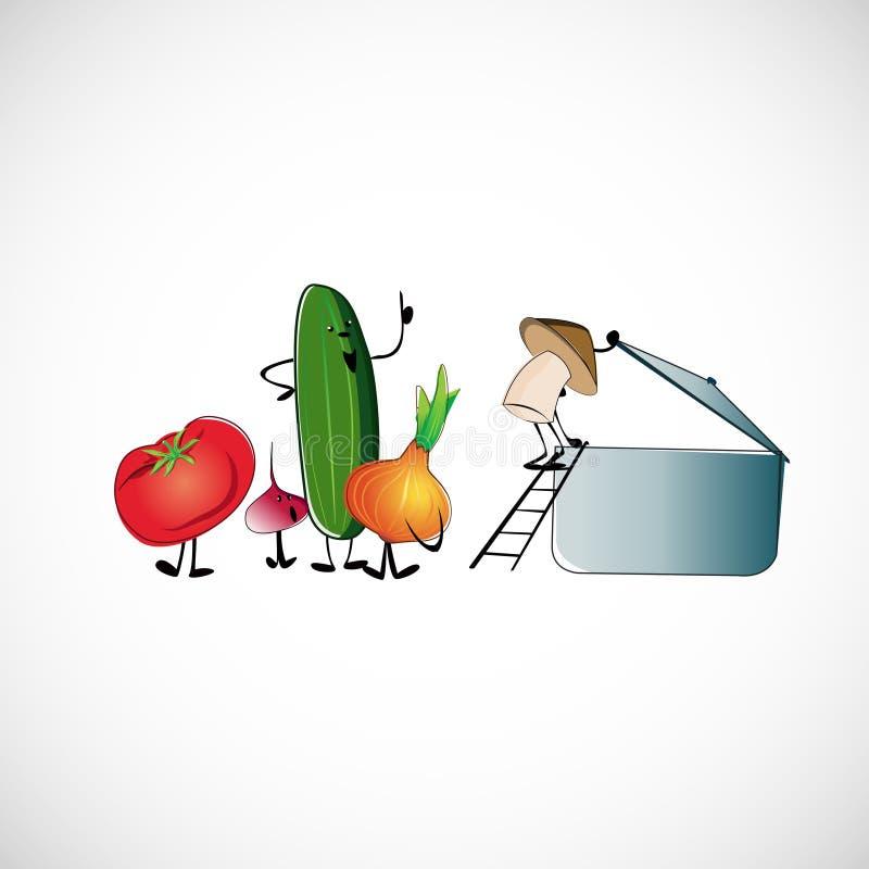 Grupo de vegetais para cozinhar a sopa Projeto do vetor ilustração do vetor