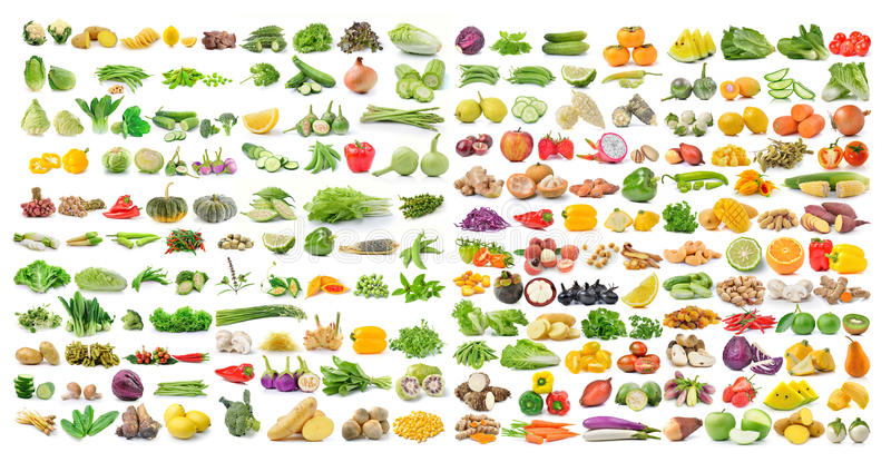 Grupo de vegetal e de fruto isolados no fundo branco foto de stock royalty free