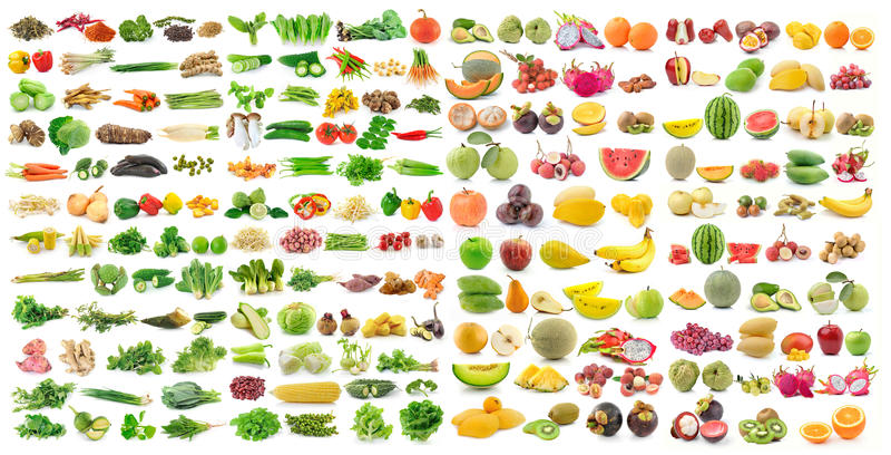 Grupo de vegetal e de fruto no fundo branco fotos de stock