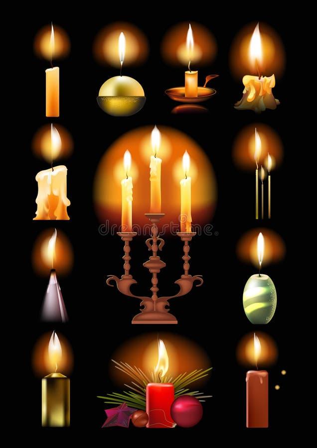 Grupo de velas ardentes: clássico, no suporte, no castiçal, Natal ilustração royalty free