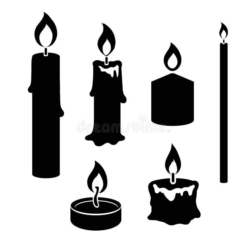 Grupo de velas ardentes da silhueta preto e branco ilustração stock