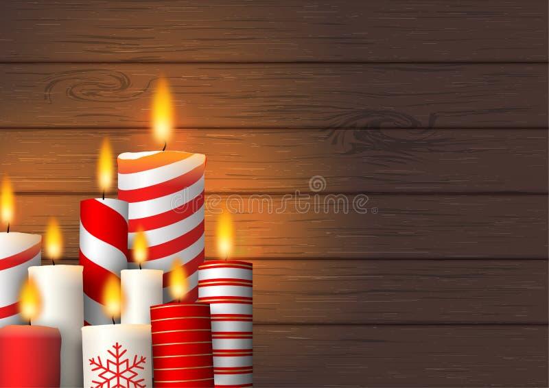 Grupo de velas ardentes do Natal na madeira ilustração do vetor