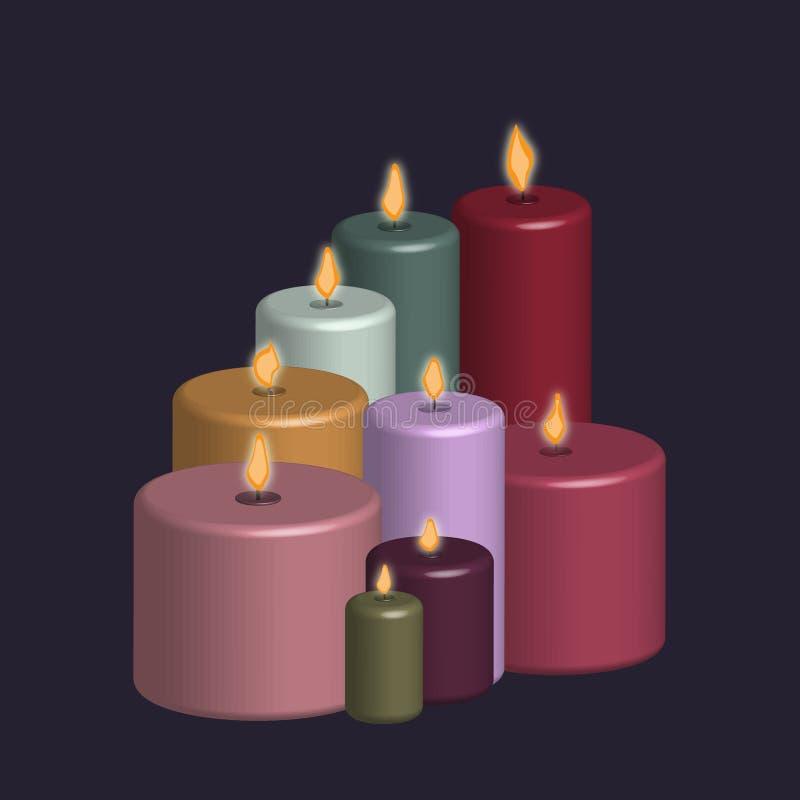 Grupo de velas criadas com o efeito 3d ilustração do vetor